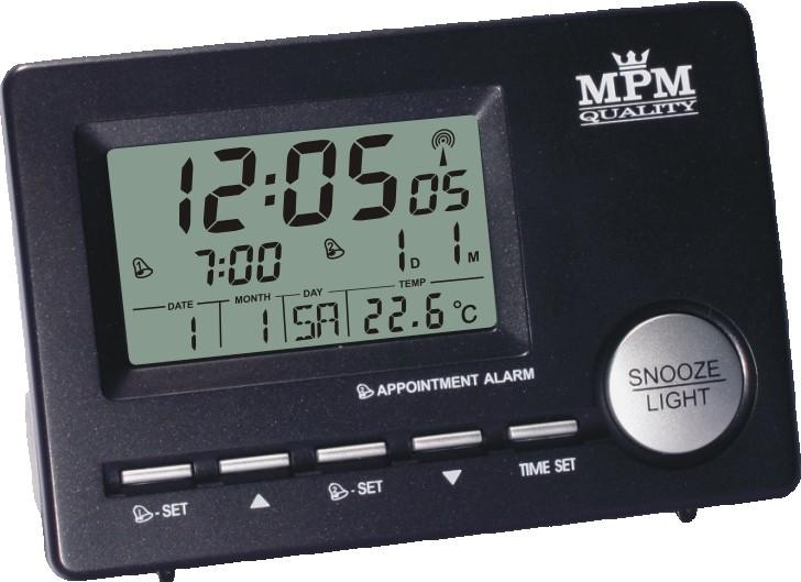MPM Černý Digitální stolní budík MPM KW5106 černá