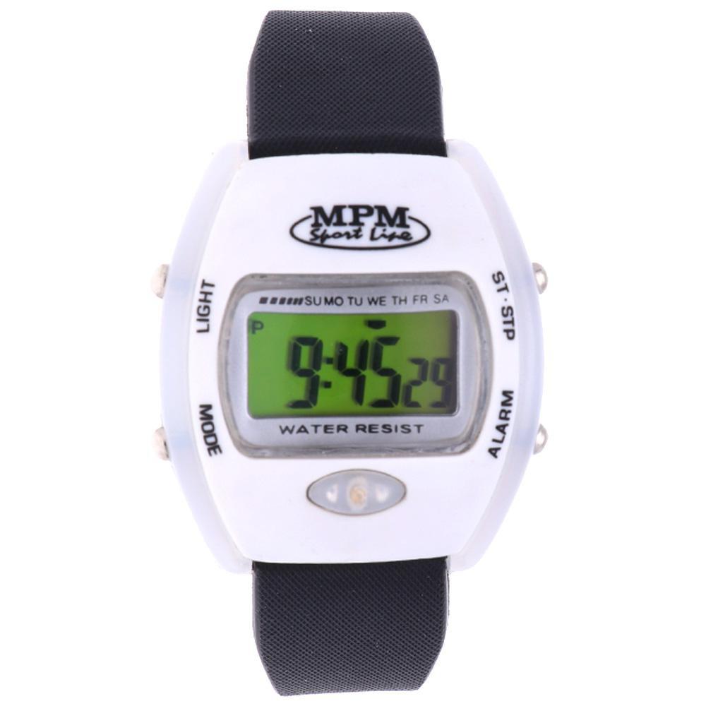 MPM Bílo - černé digitální hodinky MPM 35-WHT656