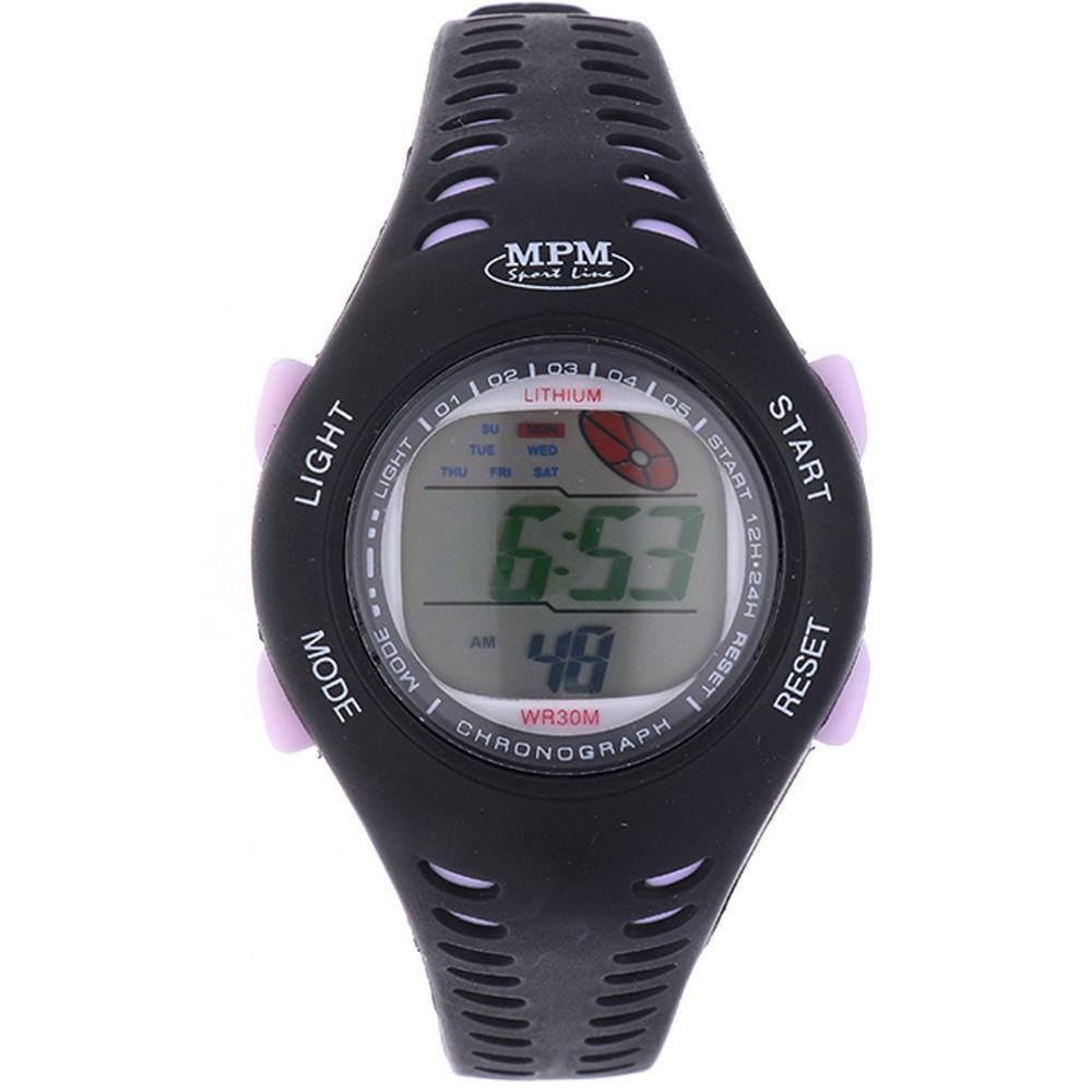 MPM Černé digitální hodinky MPM 351-RO180L (čer-fial)