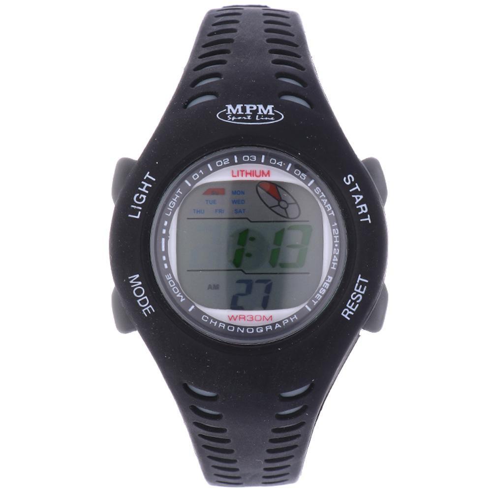 MPM Černé digitální hodinky MPM 352-RO180L (čer-šed)