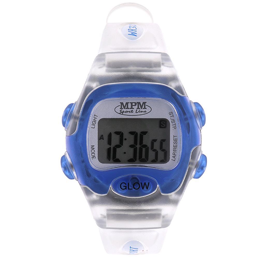 MPM Modré digitální hodinky MPM 56-D61327LTT602004