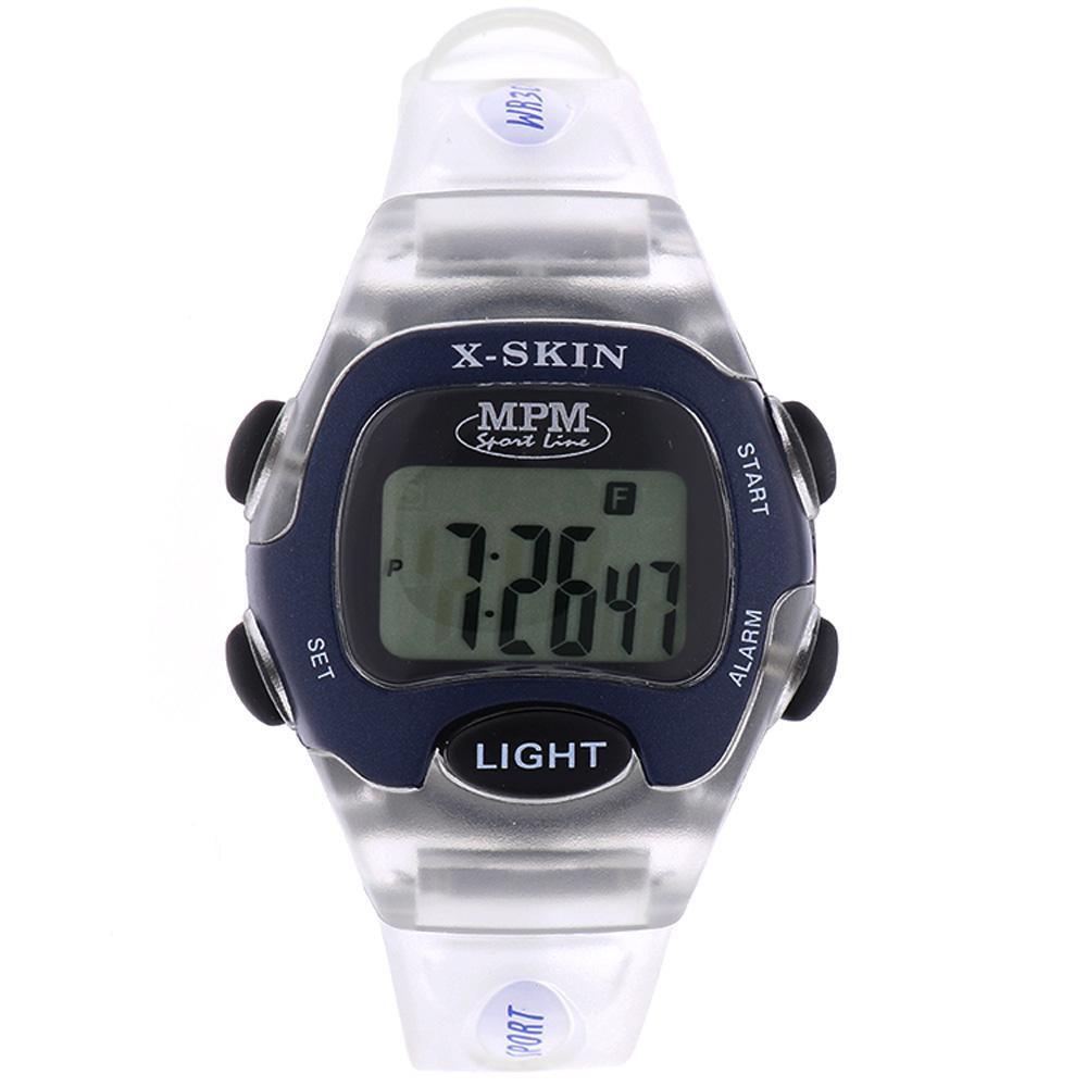 MPM Bílo modré digitální hodinky MPM 58-D61327LTT102001+plyš
