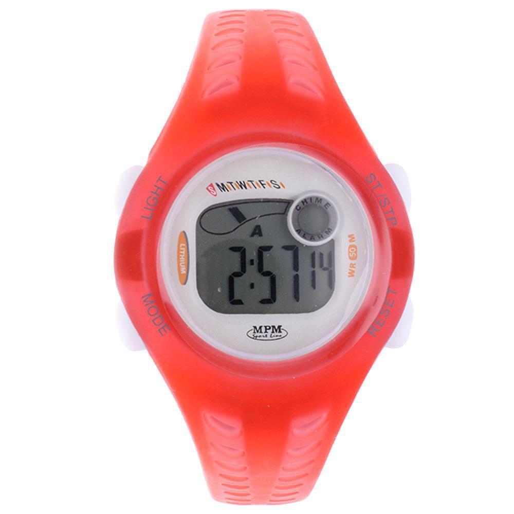 MPM Červené digitální hodinky MPM 126-D62522LUZ005004+plyš