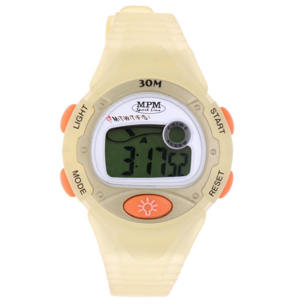 MPM Oranžové digitální hodinky MPM 55-D62377L9TA01005+plyš