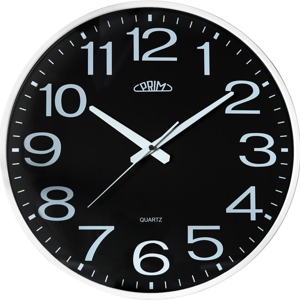 PRIM Černé kulaté nástěnné hodiny PRIM Klasik Style - 3987 black