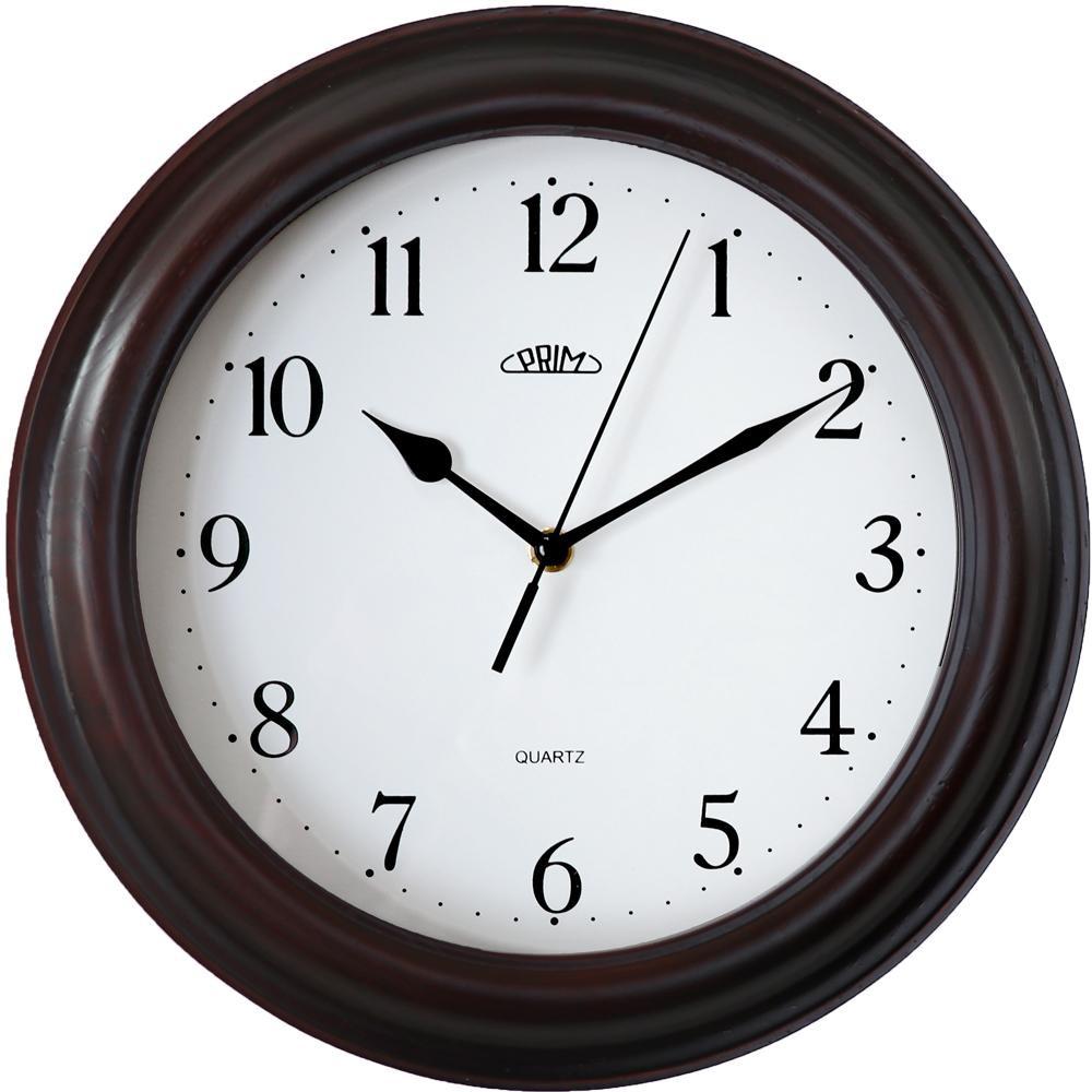 MPM Klasické kulaté dřevěné hodiny MPM E07P.3973.50