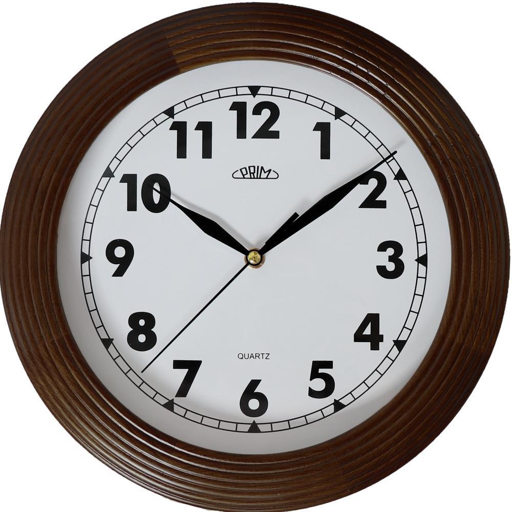 MPM nástěnné dřevěné kulaté hodiny MPM E07P.3975.50