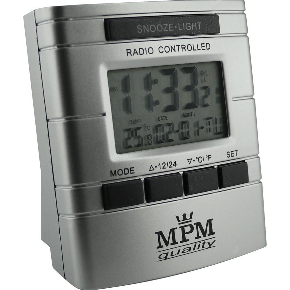MPM Stříbrný rádiem řízený digitální budík MPM ERC130 stříbrná