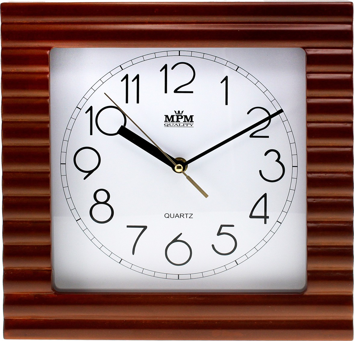 MPM Hranté dřevěné nástěnné hodiny MPM E07.2700