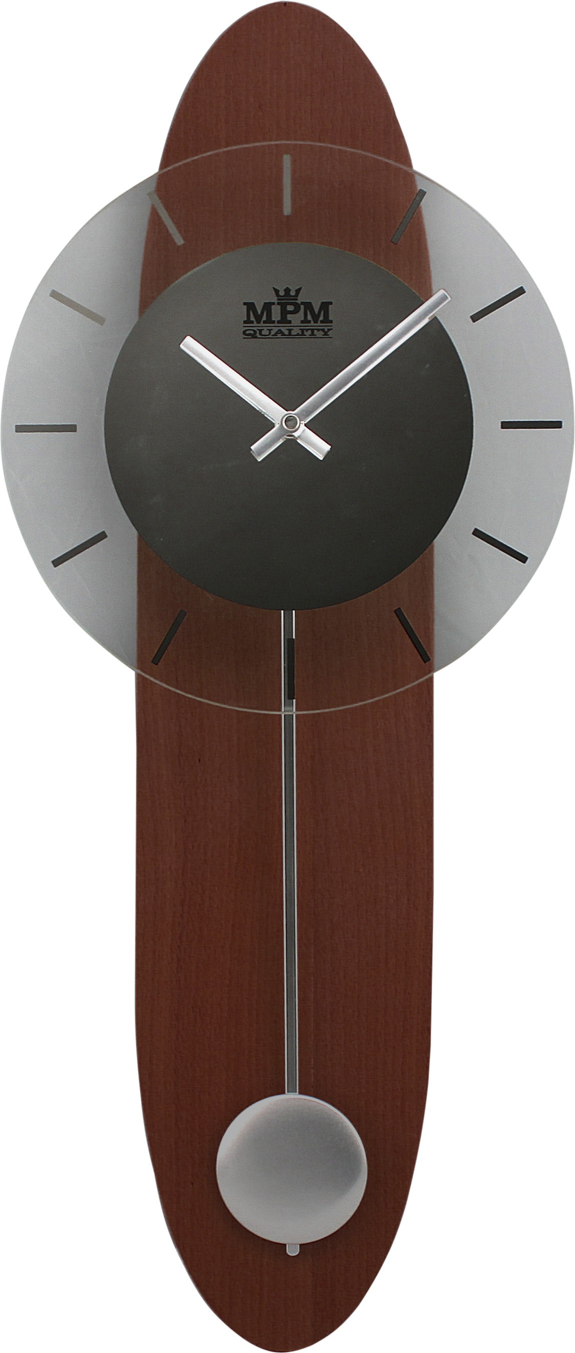 MPM Dřevěné kyvadlové nástěnné hodiny MPM E05.2694