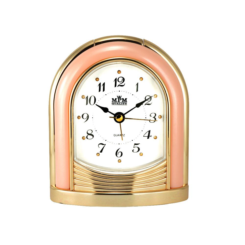 MPM Analogový ručkový zlatý budík MPM DF1416.23